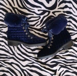 Blue Faux Fur Velvet Ankle Boots